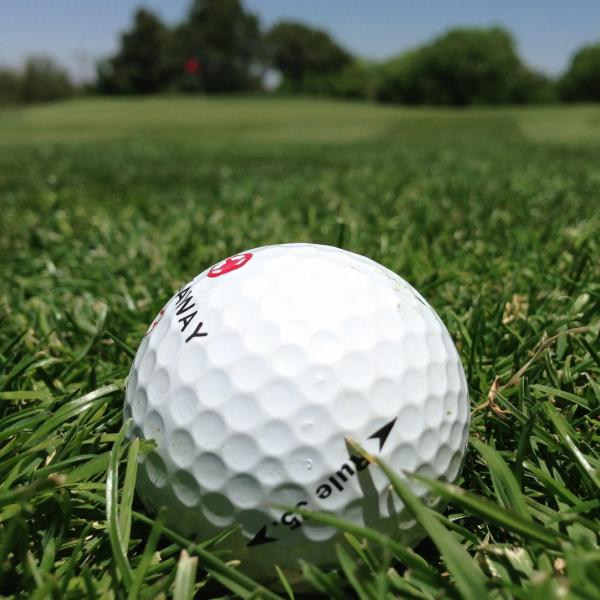 A golf ball on the grass