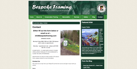 Bespoke Framing Homepage